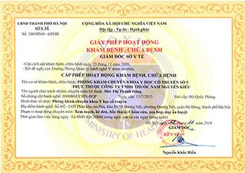 Giấy phép hoạt động khám và chữa bệnh thuốc nam Nguyễn Kiều do sở y tế cấp